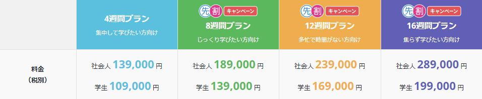 webアプリケーションコース料金表